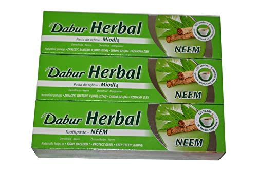 3 x Dabur Herbal Neem 100ml Zahnpasta Ayurvedische Kräuter-Zahncreme mit Neem Zahnpflege 300ml
