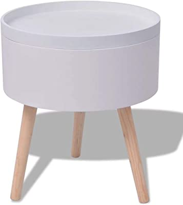 c6482e84b6b4 Modern Side Table Wooden Coffee Table Storage with Round Serving Tray Room  Decor (