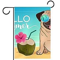 庭の装飾の屋外の印の庭の旗の飾りPug Dog Sunglasses Beach Ocean Coconut. テラスの鉢植えのデッキのため