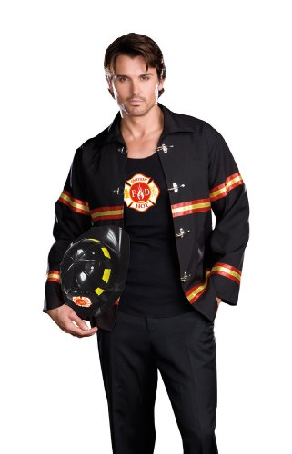 Dreamgirl Men's Smoking Hot Fireman Costume, Black/Red, X-Large
