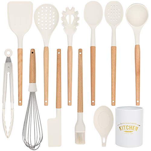 BolerGifts Cooking Utensils with Wood Handle: Professional Silicone Kitchen Tools Set with Holder for Nonstick Cookware