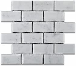 Bianco Carrara White Marble 2 X 4 Polished & Beveled Brick Mosaic Tile - 6