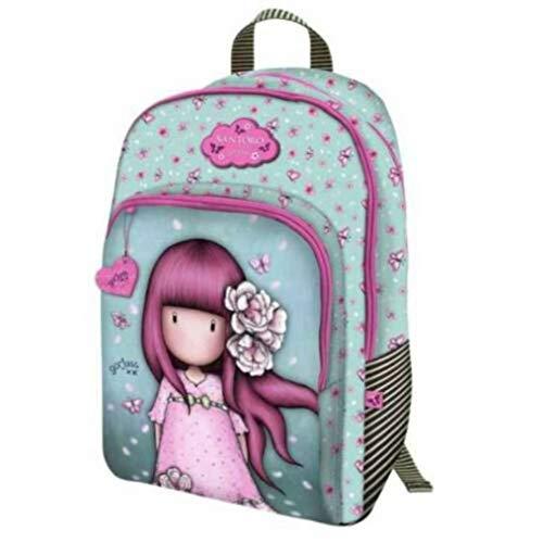 Mochila escolar compatible con Santoro Gorjuss London Blosson Cherry flores de cerezo + estuche 3 pisos + diario estándar + llavero girabrillo + paquete de 10 bolígrafos