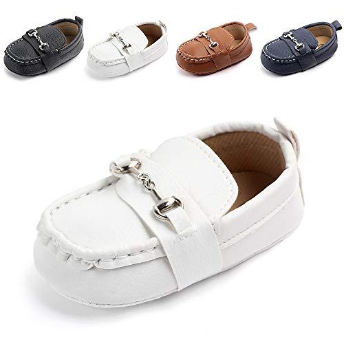 Meckior Newborn Infant Baby Girls Boys Tassels Soft Sole Penny Loafers Shoes Prewalker Moccasin (0-6 Months Infant, A-White)