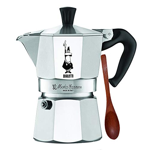 Original Bialetti 3-Espresso Cup Moka Express | Espresso Maker Machine and Zonoz Wooden Small Espresso Stirring Spoon Bundle (3-cup, 6.5 fl oz, 200 ml)