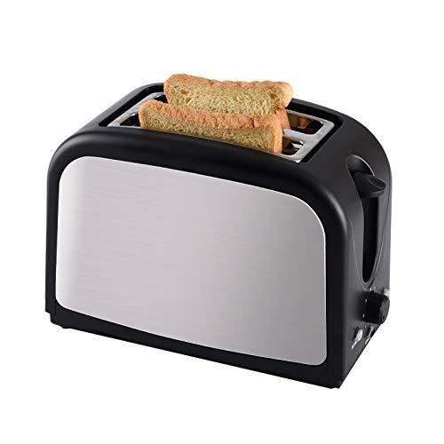 Tostadora, pan de 800 W, tostadora de 2 rebanadas, calentador de tostadas multifuncional de acero inoxidable, tostadora de 7 engranajes para hamburguesas, desayuno, horneado, barbacoa