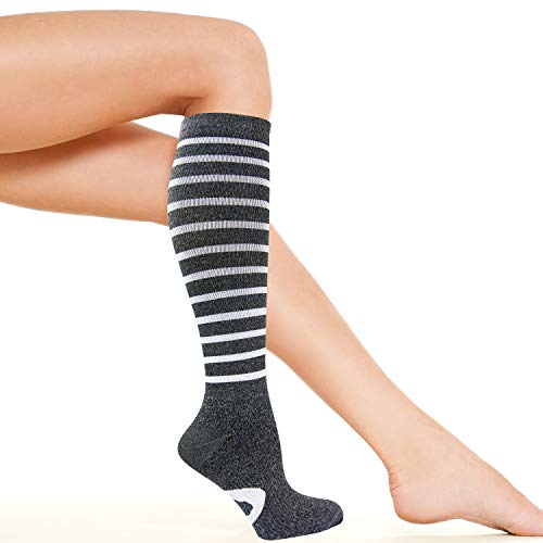 Womens Compression Socks | Best for Nurse, Travel, Flights, Maternity, Pregnancy, Medical and Running | Graduated 15-20 mmHg Knee High Stockings
