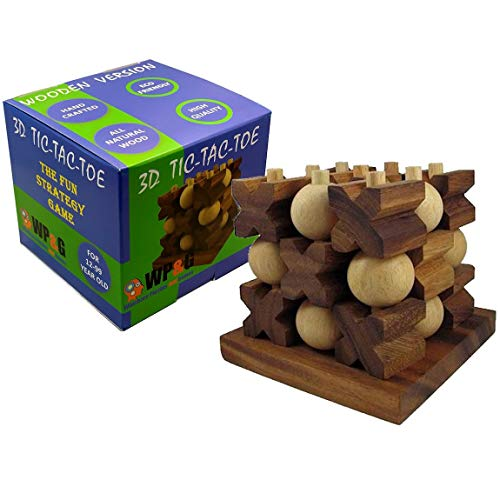 Tic-Tac-Toe 3D Strategy Wooden Game (Toy)