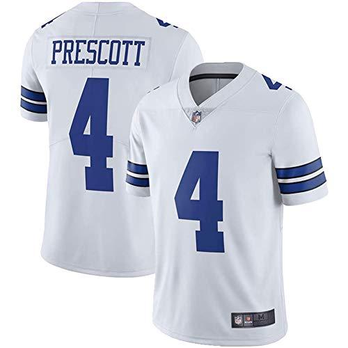 anking Herren Kurzarm T-Shirt Fußballuniform Trikot Dallas Cowboys 4# Dak Prescott Rugby Uniform Trikots T-Shirts, Geeignet Für Outdoor-Sport, Freizeit Und Komfort,Weiß,S