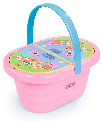 SIMBA Peppa Pig Picknick- Korb con 3 Geschirrsets, Rosa 7600310589