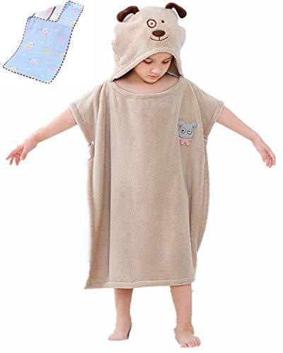 Toalla de bebé con capucha | Albornoz de felpa mullida | Toalla poncho con capucha | Toalla infantil con divertido turbante (Marrón claro)