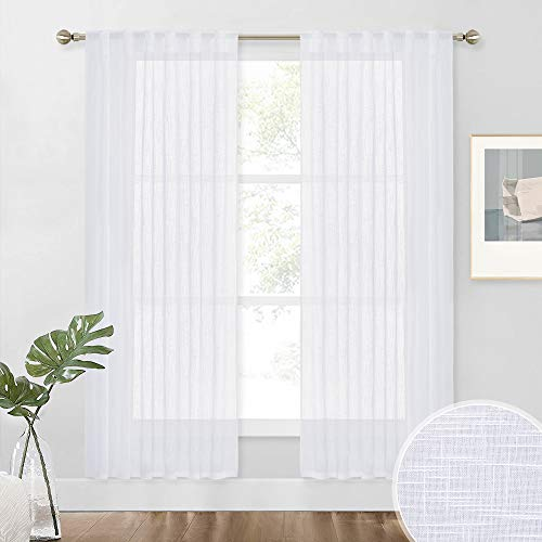 NICETOWN Country Linen Sheer Curtains 72 inches Long for Bedroom Window Treatments, Privacy Semitransparent Voile Sheer Drapes with Light Filtering for Living Room, 52 Inch Wide, White, Set of 2