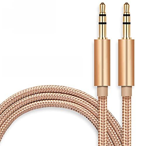 Cable Cable AUX 3.5mm Cable de Audio Macho a Hombre Audio Auxiliar Audio Cordón Estéreo para Auriculares, Coche, Estéteres para Hogar, Altavoz Cargador (Color : Gold, tamaño : 1m)