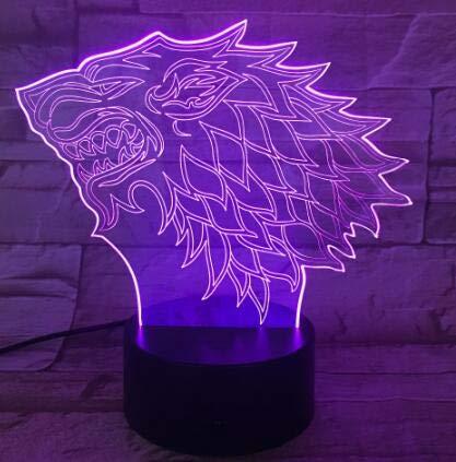 Classic Movie Charakter Spielhaus Stark Wolf Eis Feuer Farben Ändern 3D LED Nachtlicht Schlafzimmer Dekor Tischlampe Jungen Geschenk