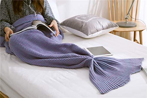 Zeemeerminstaart-deken, gehaakt, voor alle seizoenen, warme sprei, sofadeken, cadeau voor meisjes voor verjaardagen, Kerstmis 70 * 140CM Azul