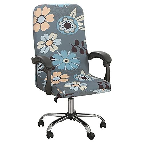 Funda para Silla de Oficina elástica Impresa, Funda para Silla de Juego de Ordenador, Protectores de sillón Giratorio M flowerworld