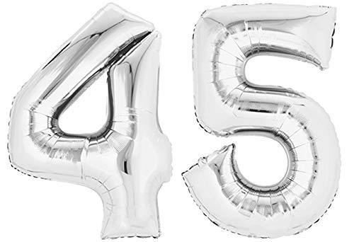 TopTen Folienballon Zahl 45 Silber XXL über 90 cm hoch - Zahlenballon / Luftballon für Geburtstagsparty, Jubiläum oder sonstige feierliche Anlässe (Nummer 45)