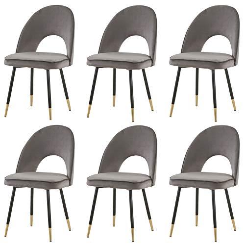 6er Set Samt Grau Esszimmerstühle Restaurant stühle Wohnzimmerstühl Weich Kissen Sitz und Rücken Mit Schwarz Metallbeinen Küche Stühle für Hause und Wohnzimmer (Grau, 6)