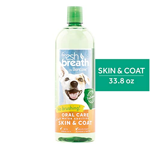 Fresh Breath by TropiClean Oral Care Water Additive Plus Skin & Coat for Pets, 33.8oz – Made in USA