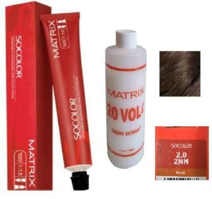 Matrix Socolor Hair Color With 135Ml Developer 20 Vol 6% (2N Black)