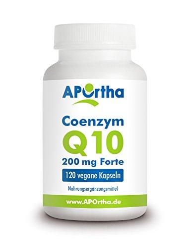 APOrtha vegane, hochdosierte Kapseln Coenzym Q10 Forte zum Schlucken (200mg Ubichinon-10/Kapsel), 120 Kapseln zur Nahrungsergänzung