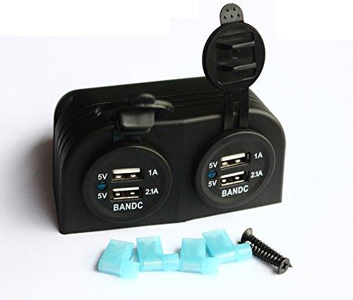 bandc Marine Grade Wasserdicht zwei USB-Ladegerät Sockel Zelt für Motorrad Auto/Boot/ATV UTV Camper/Wohnwagen/Travel Trailer