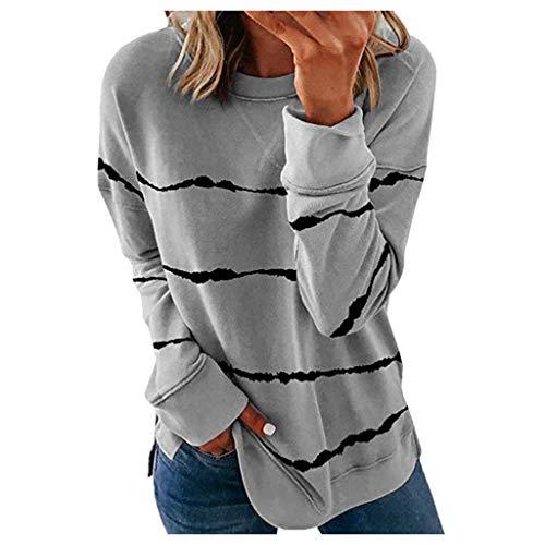 Viewk - Camiseta de manga larga para mujer con cuello en O, sexy, casual, otoño, suelto, a rayas, sudaderas con capucha Beige gris L