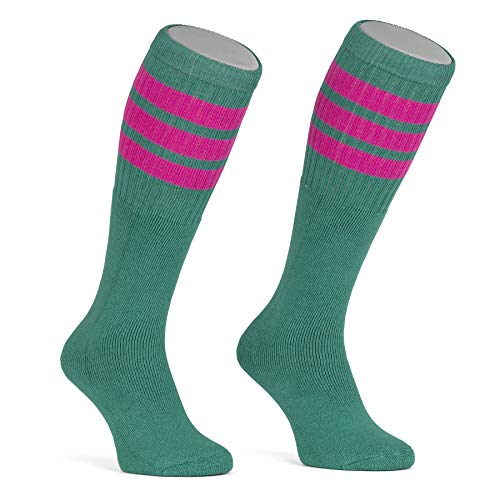 skatersocks 22 Inch kniehohe gestreifte Damen Socken Kniestrümpfe knee high overknee Old School Retro Tube Socks teal - hot pink gestreift