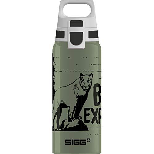 SIGG WMB One Mountain Lion Kinder Trinkflasche (0.6 L), schadstofffreie und auslaufsichere Kinderflasche, federleichte Wasserflasche aus Aluminium