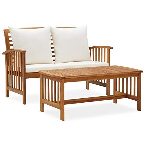 Tidyard Muebles de Jardín 2 Piezas con Cojines Banco y Mesa de Jardín Exterior Patio Madera Maciza de Acacia