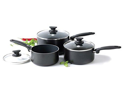 GreenPan CC000587-001 Set de 3 casseroles/2 couvercles, Aluminium, Noir, 3 pcs