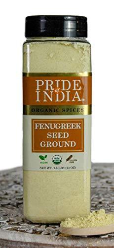 Pride Of India - Biologische fenegriekzaadgrond - 24 oz (680 g) grote dubbele zeefpot - Authentieke Indiase veganistische kruiden - Gluten- en GGO-vrij - Beste voor curry's, salades en augurken