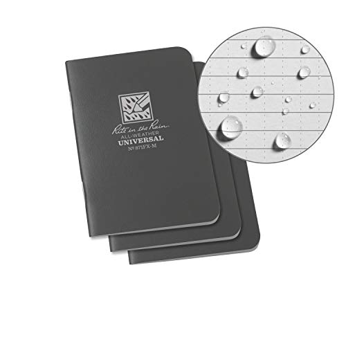 "Rite in the Rain Weatherproof Mini-Stapled Notebook, 3 1/4"" x 4 5/8"", Gray Cover, Universal Pattern, 3 Pack (No. 871FX-M)"