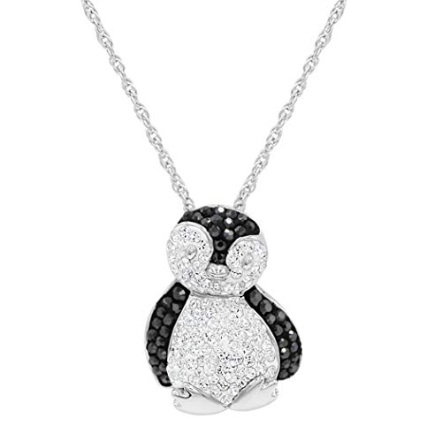 Sterling Silver Black and White Crystal Penguin Pendant-Necklace with Swarovski Crystals
