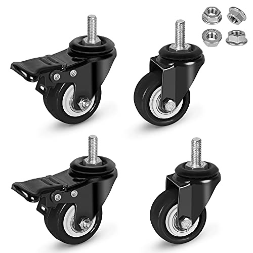 """Stem Casters with Brake,Heavy Duty Swivel Threaded Stem Casters,5/16""""-18x1""""(NOT Metric M8) Stem Casters with Brake for Carts,Dual Lock Stem Casters Loading 300Lbs,NO Noise,Multi Nuts Choice"""