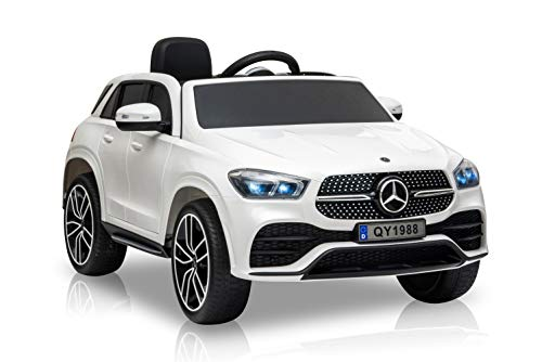 havalime Kinder Elektroauto Mercedes GLE 450 Lizenziert, 2X 35 Watt Motor, Kinderauto, Kinderfahrzeug, Fernsteuerung, MP3 (Weiß)