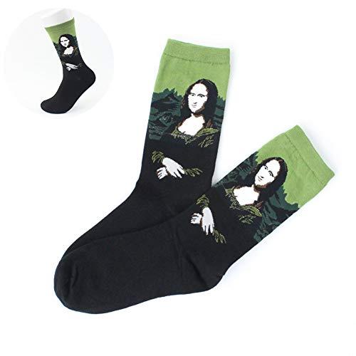Wudi 1 par Unisex Calcetines Coloridos de Arte con Dibujos Casual Calcetines de algodón Calcetines de la Novedad Calcetines (Mona Lisa)