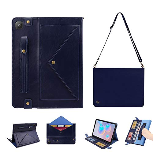 Benabox Luxurious Leather Case for Samsung Tab S6 Lite(P610/615) Handmade Protective Cover Travel Sleeve Shoulder Case Bag with Pocket and Card Slots, Pencil Holder, Wake/Sleep Shockproof (Navy Blue)