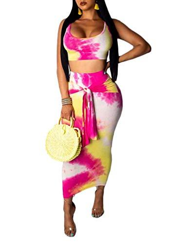 Remelon Womens Sexy Sleeveless Tie Dye Print Tank Crop Top Bodycon Tie Skirts Set 2 Piece Midi Dress Outfits Rosy M