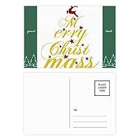 クリスマス鹿アートワード・フェスティバル グッドラック・ポストカードセットのカードを郵送側20個