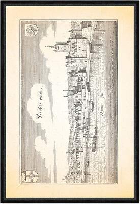 Kunstdruck Keyserswerdt Kaiserswerth Rhein - Abadejo de capuchina del rey St. Faks_Merian 0885