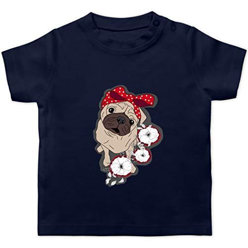 Tiermotive Baby - Pug mit Blumen - 1/3 Monate - Navy Blau - Tier - BZ02 - Baby T-Shirt Kurzarm