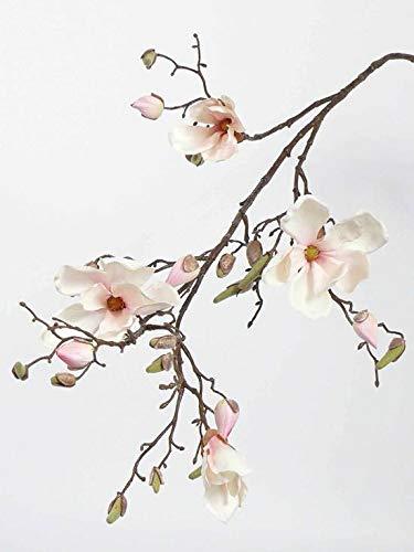 artplants.de Deko Magnolienzweig LORA, 4 Blüten, Knospen, Creme - rosa, 110cm - Künstlicher Zweig - Kunst Blumen