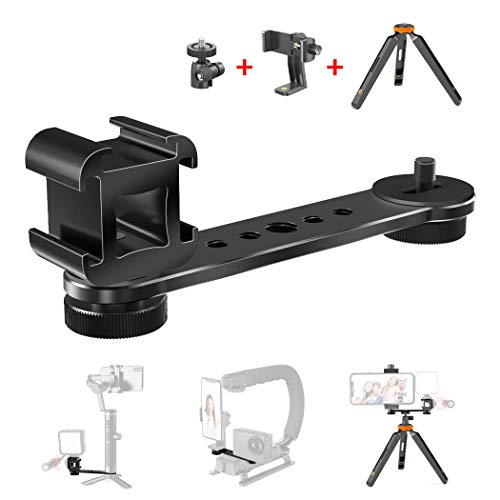 Triple Cold Shoe Extension Bar Bracket with 1/4 3/8 Adapter, Gimbal Video Light Microphone Mount with Phone Tripod, Compatible for DJI OSMO Mobile 3 4, Zhiyun Smooth 4 Q, Feiyu Stabilizer Accessories