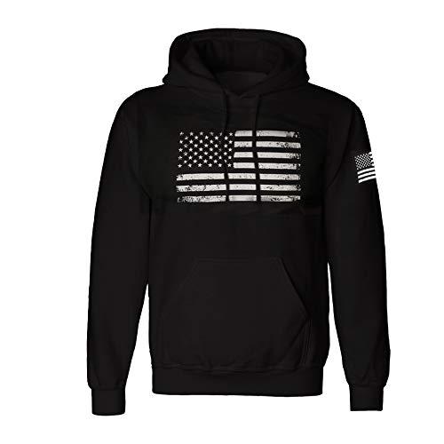 Grunge Style Vintage American Flag Hoodie Pullover Fleece for Men - Distressed USA Flag Sweatshirt