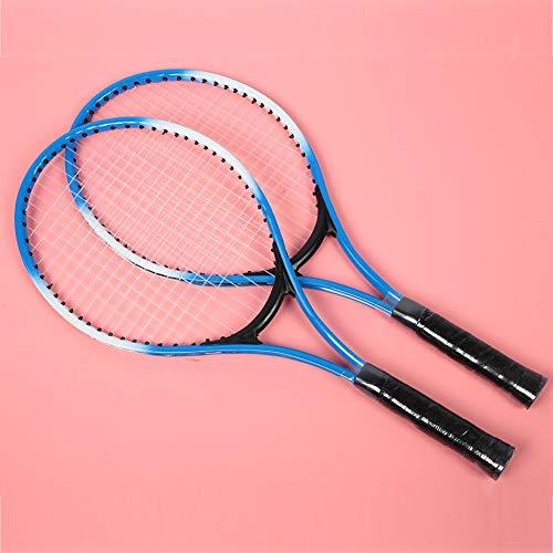 Jimdary Raquetas de Tenis para niños, Raqueta de Tenis de aleación de Hierro portátil, Accesorio de Raqueta de práctica para Principiantes, con Pelota y Bolsa de Transporte, Marco de Alta(Blue)
