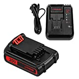 3.0Ah LBXR20 Battery Replace for Black and Decker 20V Max Li-ion Cordless Tools + 20V LCS1620 Charger for Black & Decker 20V Lithium Battery