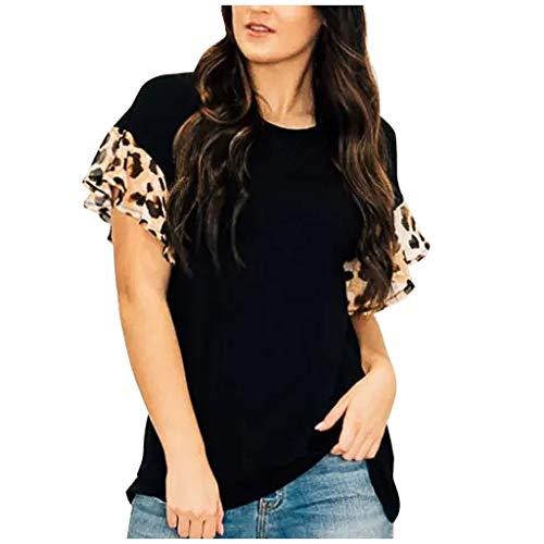 Dasongff Dames Ladies Contrast Tee T-shirt luipaard patchwork korte mouwen shirts modieus los zomer bovenstuk tops Large zwart