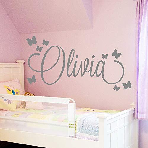 yiyiyaya Grande Taille Personnalisé Personnalisé Nom Mur Art Decal Babys Stickers Muraux Matériel pour Enfants Filles garçons Chambre à Coucher Décoration Murale Gris 30cm X 56cm