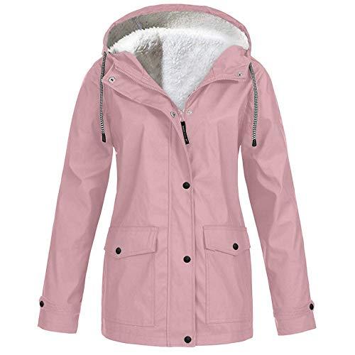 Damen Jacke Mantel Wasserdichter Regenmantel Lange Kapuzenjacke Warme Gefüttert Regenjacke Windproof Wintermantel Plus Size Outdoor Winterjacke (M, Rosa)